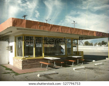 aged and worn vintage photo of  old restaurant - stock photo