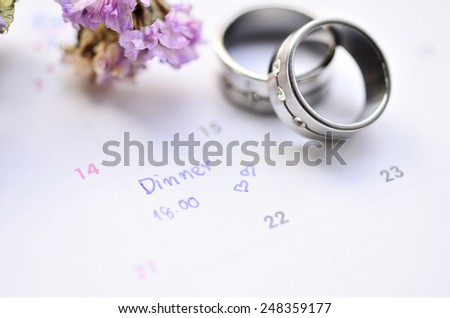 agenda on time planner - stock photo