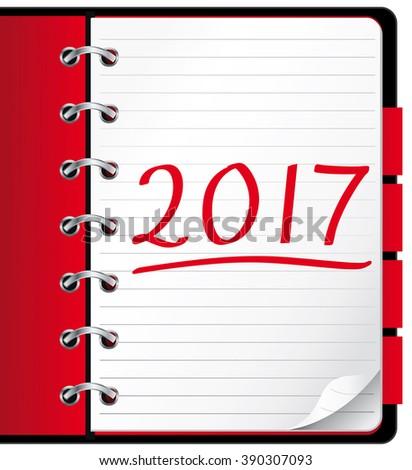 2017 agenda. Red office notebook. Illustration.  - stock photo