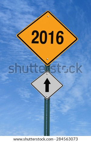 2016 ahead road sign over blue sky with clouds - stock photo