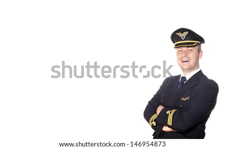 Airliner pilot in uniform on the airport - stock photo