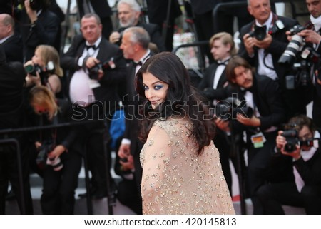 Aishwarya Rai attends the 'Slack Bay (Ma Loute)' premiere during the 69th annual Cannes Film Festival at the Palais des Festivals on May 13, 2016 in Cannes, France.  - stock photo