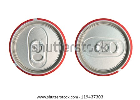 aluminum cola can on white background, view from the top - stock photo