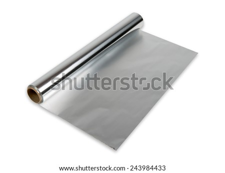 aluminum foil roll on the white background - stock photo