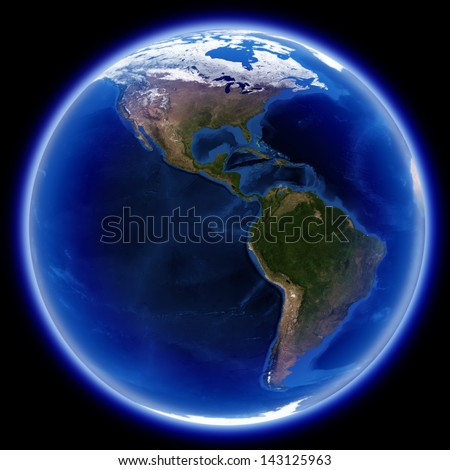 America map isolated on black, Earth globe image provided by NASA - stock photo