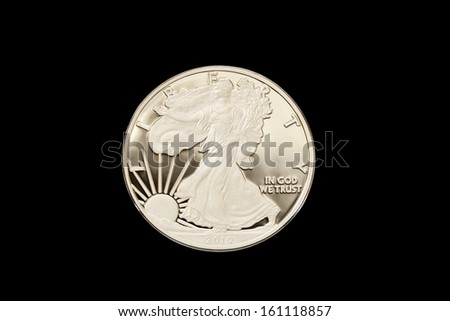 American Eagle Silver Proof Coins are beautiful collectibles in precious metals that feature frosted images on a mirror-like background. Minted in 2010 by the United States Mint - stock photo
