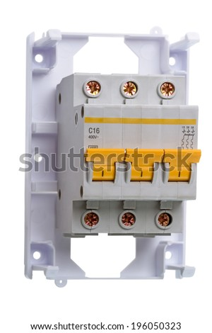 16 Amp Circuit Breaker three phase on a white background.  Circuit breaker used on items such as a residential iron, hot water heater, a kitchen oven, or an electric clothes dryer. - stock photo