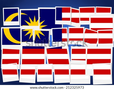 An illustration of the flag of Malaysia, photo frame  - stock photo