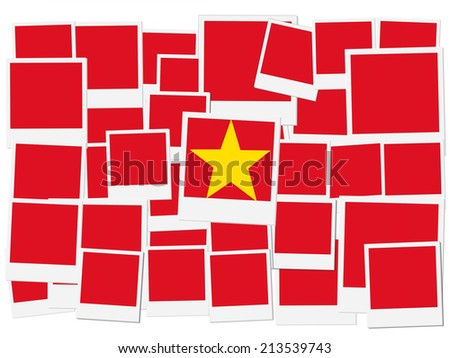 An illustration of the flag of Vietnam, photo frame - stock photo
