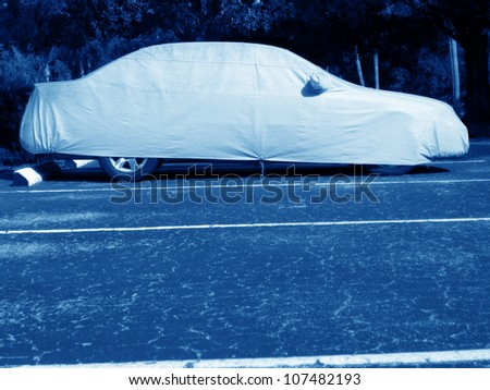 an image of car in parking lot - stock photo