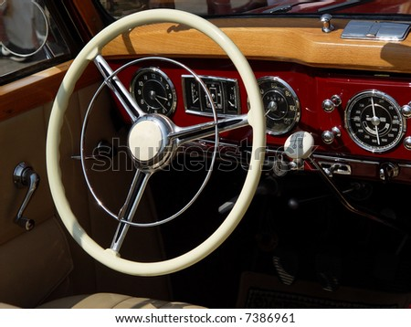 An interior of the retro old car - stock photo