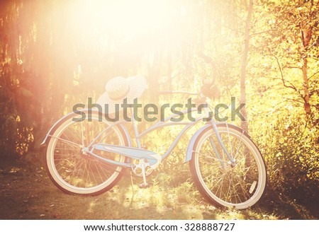 an old bike leaning against a tree with a summer hat on the seat toned with a retro vintage instagram filter  - stock photo