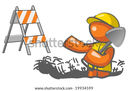 An orange man digging a hole with a roadblock element in the background. - stock photo