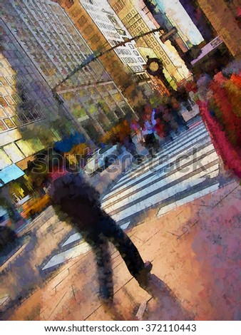 An original photograph of people on a busy New York City street transformed into a colorful painting                               - stock photo