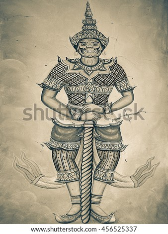 Ancient thai mural painting Ramayana - stock photo