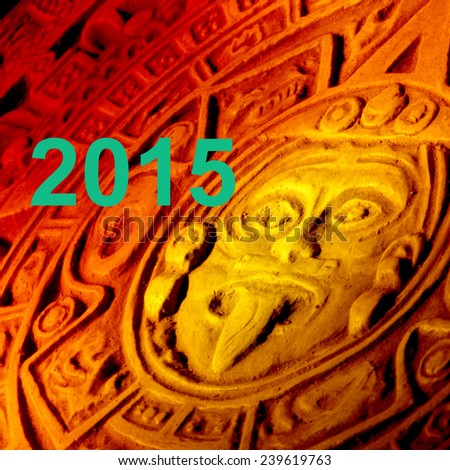 2015 and Mayan calendar. - stock photo