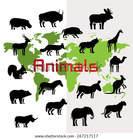 Animals silhouettes on world map, flat style - stock photo