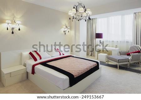 ?anoramic view of nice cozy bedroom - stock photo