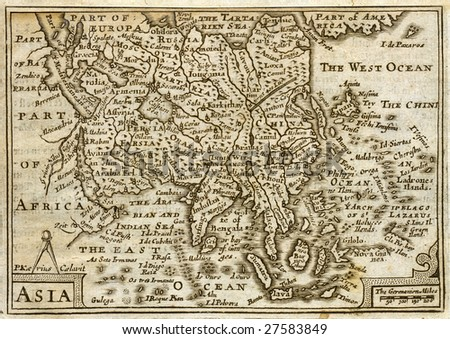 1675 Antique John Speed Map of Asia - stock photo