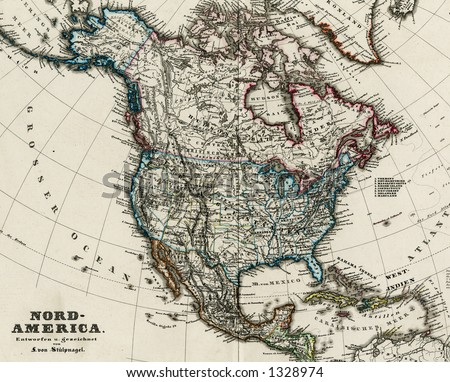 1872 Antique Map of North America Stieler Detail - stock photo