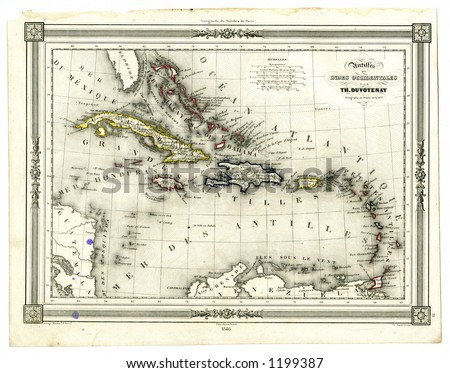 1846 Antique Map of West Indies and Caribbean - stock photo