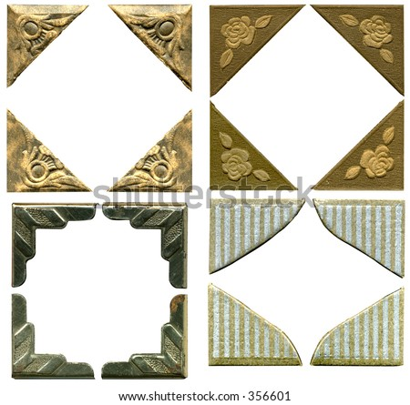 4 antique picture corners. 4 sets! Some grunge and wear intact. Hi Res. Work path. Just drop in your image. - stock photo