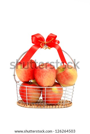 apples in basket, isolated on white background. - stock photo
