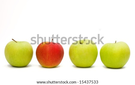 4 apples with 3 green and 1 red . - stock photo