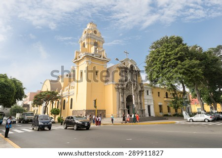 16 APR 2015 : Lima downtown city with a Cathederal, Lima, Peru - stock photo