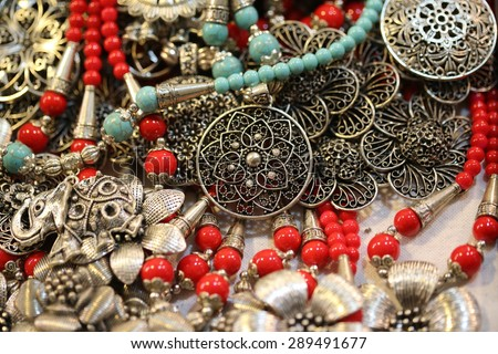 arab metal necklace - stock photo