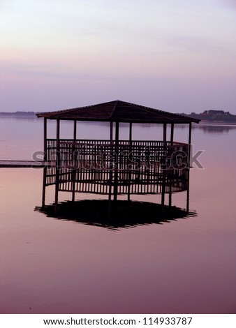 arbor �  on the surface of a lake - stock photo