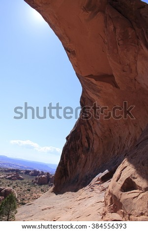 Arch with a view, Arches National Park - stock photo