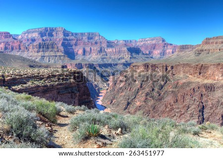 Arizona, Grand Canyon National Park, Views of the Colorado River from the Tonto Trail West - stock photo