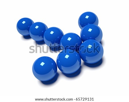 Arrow made  from blue sphere - this is a 3d render illustration - stock photo