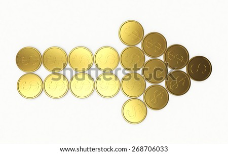 Arrow of golden coins isolated on white background - stock photo