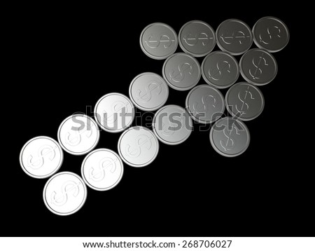 Arrow of silver coins isolated on black background - stock photo