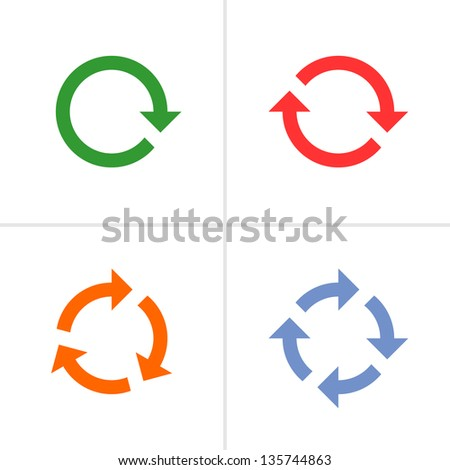 4 arrow pictogram refresh, reload, rotation, loop, sign set. Volume 02 (color). Mono solid plain flat minimal style. Simple icon on white background. Design element bitmap copy vector illustrations - stock photo