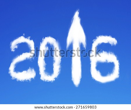 2016 arrow up sign shape white clouds on blue sky background - stock photo