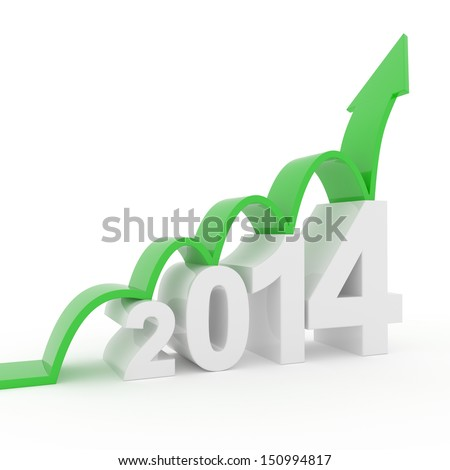 2014 arrow upturn - stock photo