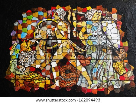Art warrior stained glass.Acrylic color painting on canvas.      - stock photo
