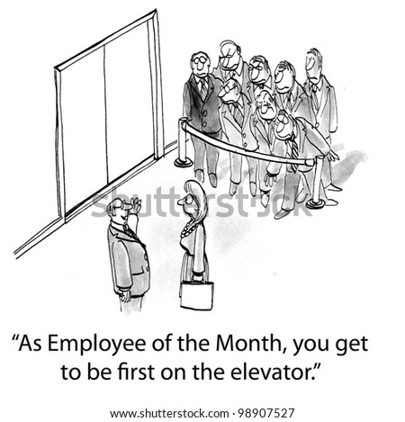 """""""As Employee of the Month, you get to be first on the elevator."""" - stock photo"""