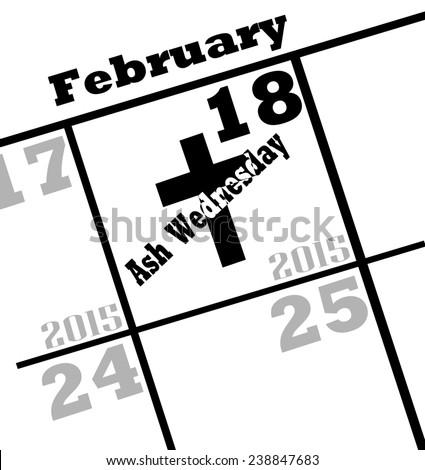 2015 ash wednesday calendar date icon - stock photo