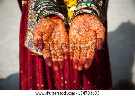 Asian Bridal Henna,intricate designs from Indian art/ Henna - Mehndi/India - stock photo