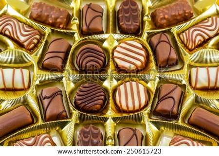 Assorted Chocolates for Valentine's Day - stock photo