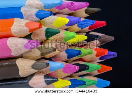Assortment of colored pencils/Colored Drawing Pencils/Colored drawing pencils in a variety of colors - stock photo