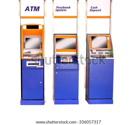 Atm Machine Isolated on White. - stock photo