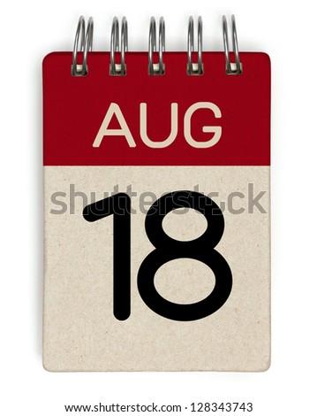 18 august calendar - stock photo