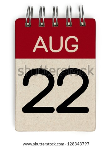 22 august calendar - stock photo