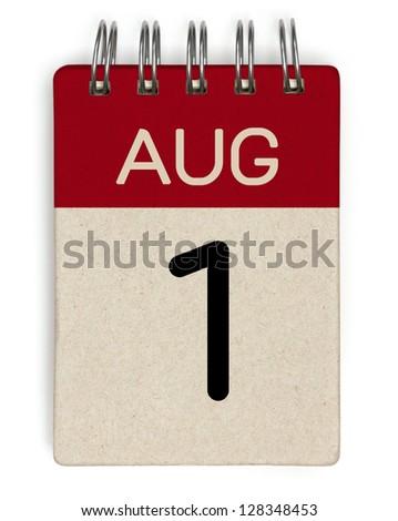 1 august calendar - stock photo