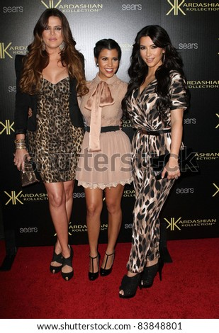 17 August 2011 - Hollywood, California - Khloe Kardasian, Kourtney Kardashian, and Kim Kardashian. Kardashian Kollection Launch Party Held at The Colony. Photo Credit: Kevan Brooks/AdMedia - stock photo